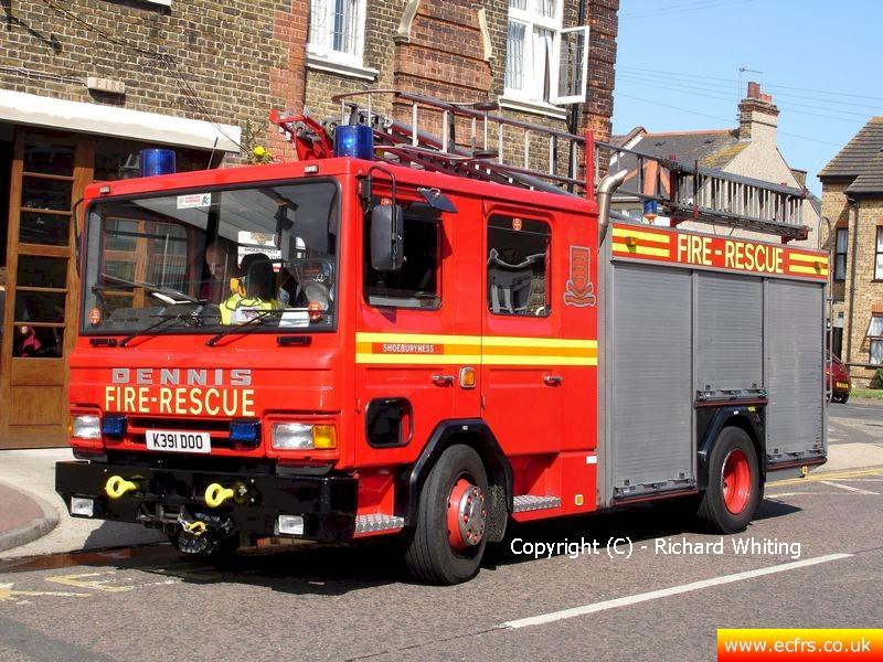 Essex FRS Dennis Rapier K391 DOO on the 9th of July 2005 at Shoeburyness Fire Station - Picture courtesy of Richard Whiting