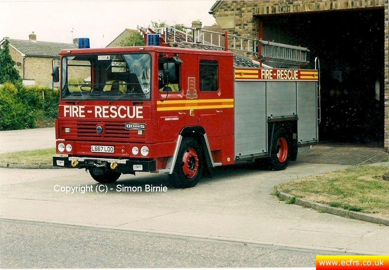 Essex FRS Dennis RS L667 LOO at Brightlingsea Fire Station - Picture courtesy of Simon Birnie